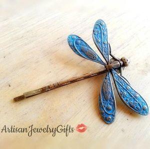 Blue Patina Dragonfly Bobby Pin Hair Clip